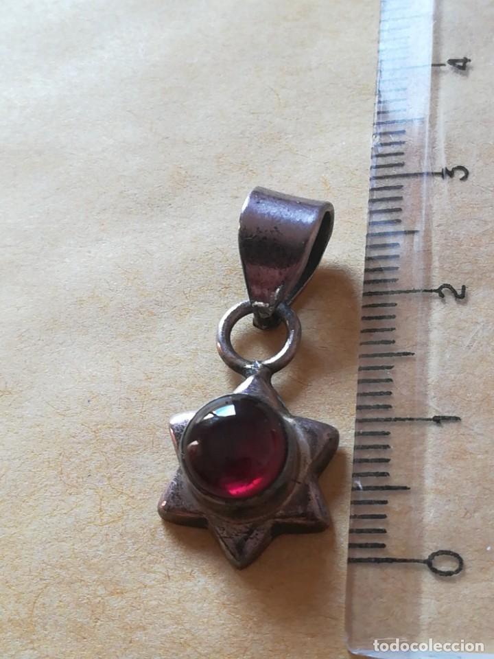 Joyeria: Antiguo colgante con piedra granata con sello 925 - Foto 3 - 285284853