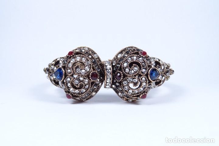 Joyeria: Impresionante brazalete pulsera isabelina en oro rojo y piedras preciosas - Foto 2 - 287182768