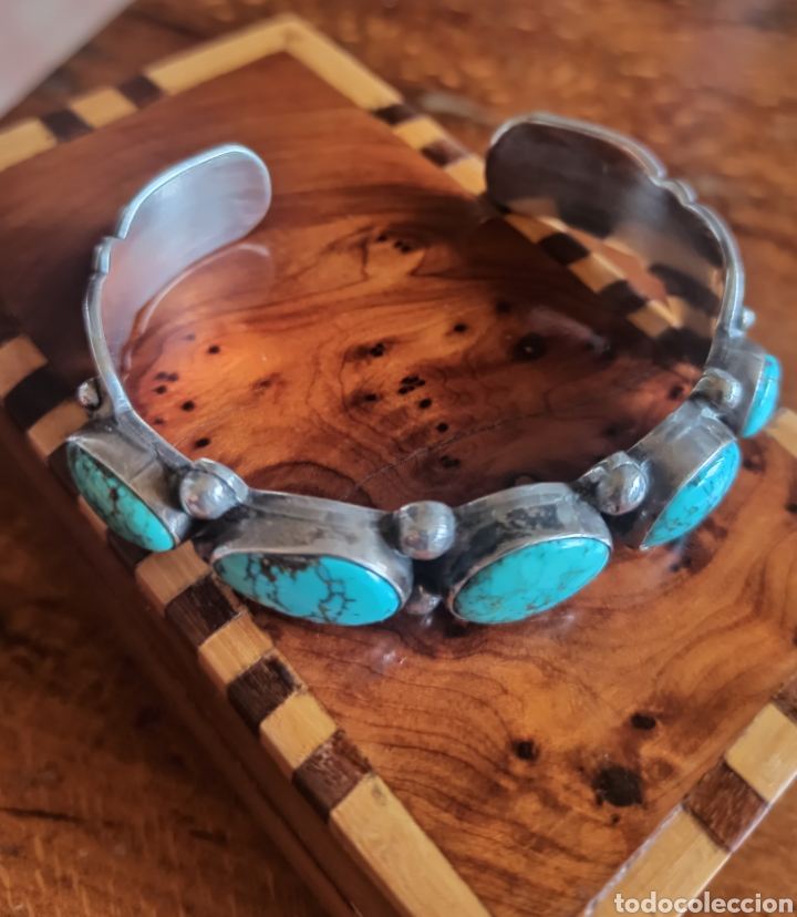 Joyeria: Pulsera nativa americana Navajo en Plata de Ley Turquesas naturales - Foto 2 - 287598078