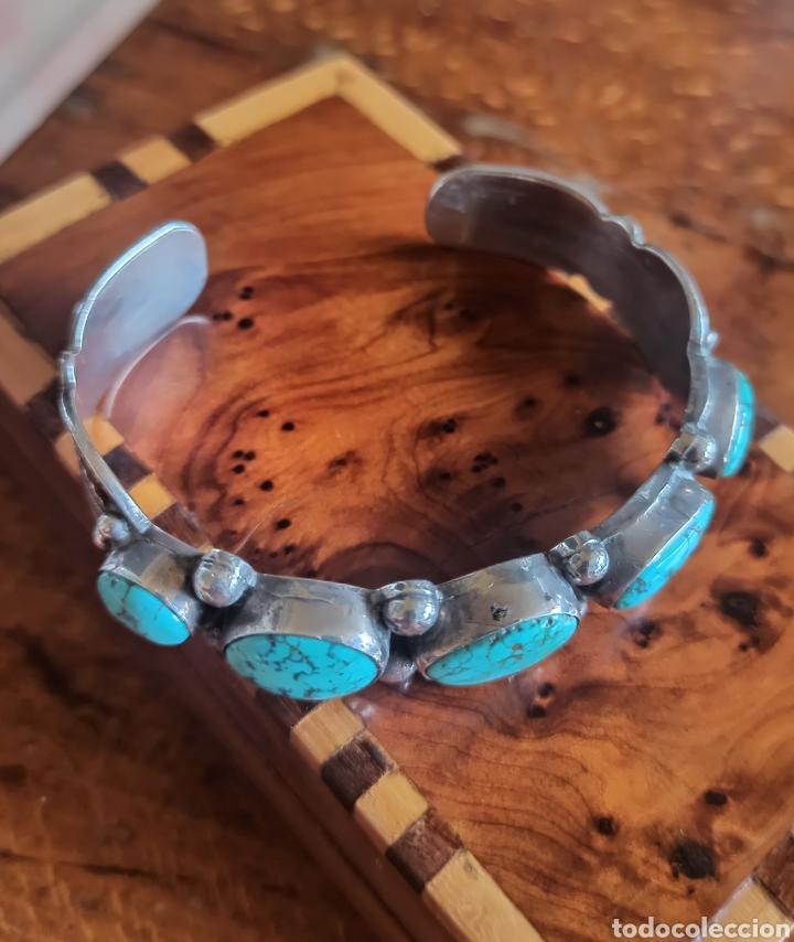 Joyeria: Pulsera nativa americana Navajo en Plata de Ley Turquesas naturales - Foto 3 - 287598078