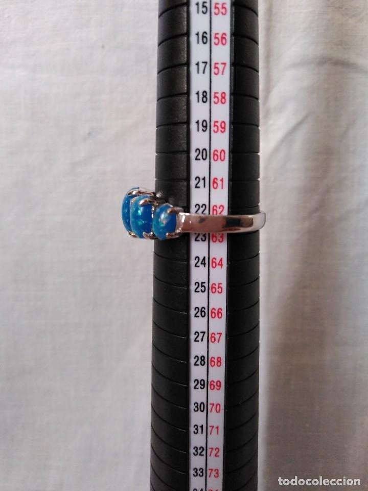 Joyeria: Fantástico anillo acabado en plata con cabujones de ópalo azul - Foto 9 - 287785188