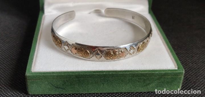 Joyeria: Brazalete vintage Azteca de plata de ley 950 y oro 18 kt ajustable - Foto 7 - 287797133
