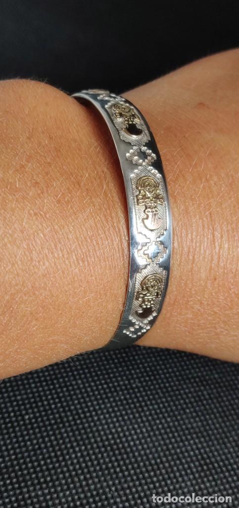 Joyeria: Brazalete vintage Azteca de plata de ley 950 y oro 18 kt ajustable - Foto 9 - 287797133