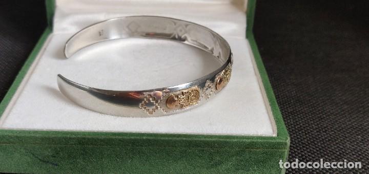 Joyeria: Brazalete vintage Azteca de plata de ley 950 y oro 18 kt ajustable - Foto 11 - 287797133