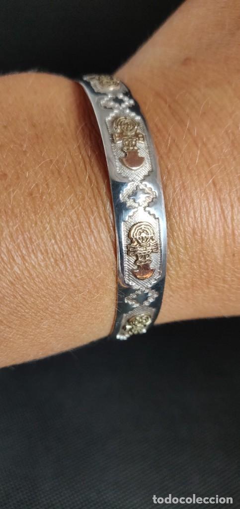 Joyeria: Brazalete vintage Azteca de plata de ley 950 y oro 18 kt ajustable - Foto 12 - 287797133