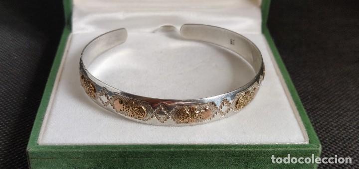 Joyeria: Brazalete vintage Azteca de plata de ley 950 y oro 18 kt ajustable - Foto 13 - 287797133