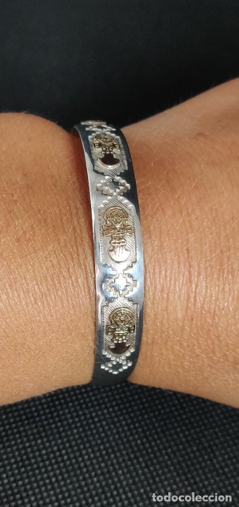 Joyeria: Brazalete vintage Azteca de plata de ley 950 y oro 18 kt ajustable - Foto 14 - 287797133