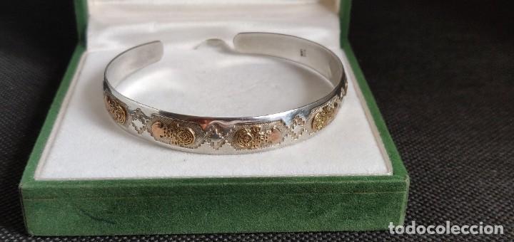 Joyeria: Brazalete vintage Azteca de plata de ley 950 y oro 18 kt ajustable - Foto 16 - 287797133