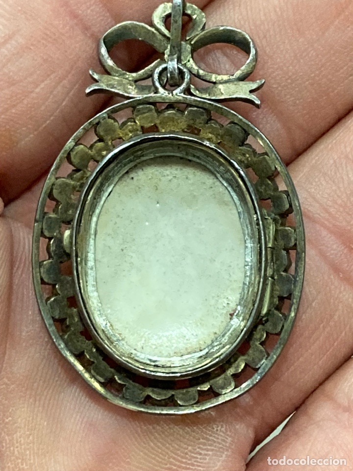 Joyeria: Magnifico broche de colgar en plata, con miniatura pintada - Foto 5 - 288053173