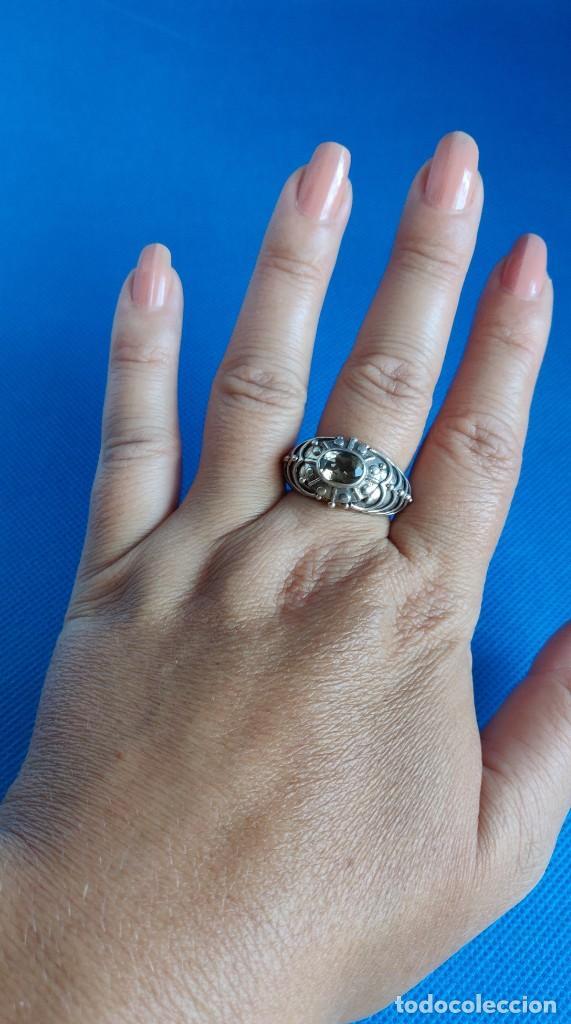 Joyeria: Anillo vintage de plata de ley maciza 925 y cuarzo facetado. - Foto 4 - 288060093