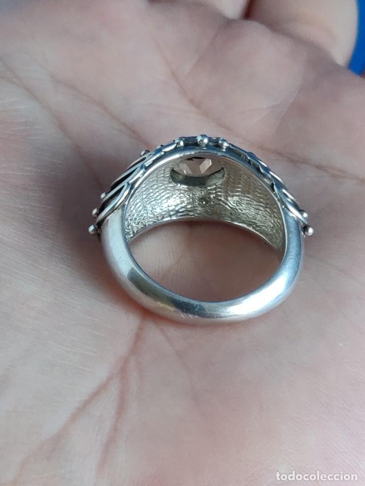 Joyeria: Anillo vintage de plata de ley maciza 925 y cuarzo facetado. - Foto 8 - 288060093