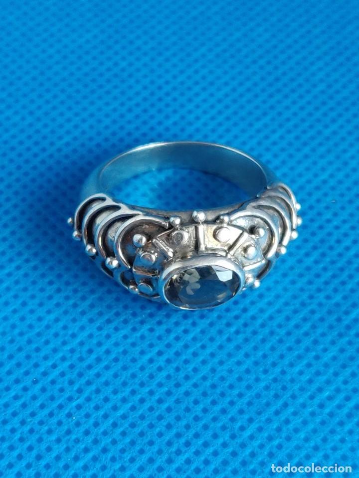 Joyeria: Anillo vintage de plata de ley maciza 925 y cuarzo facetado. - Foto 11 - 288060093