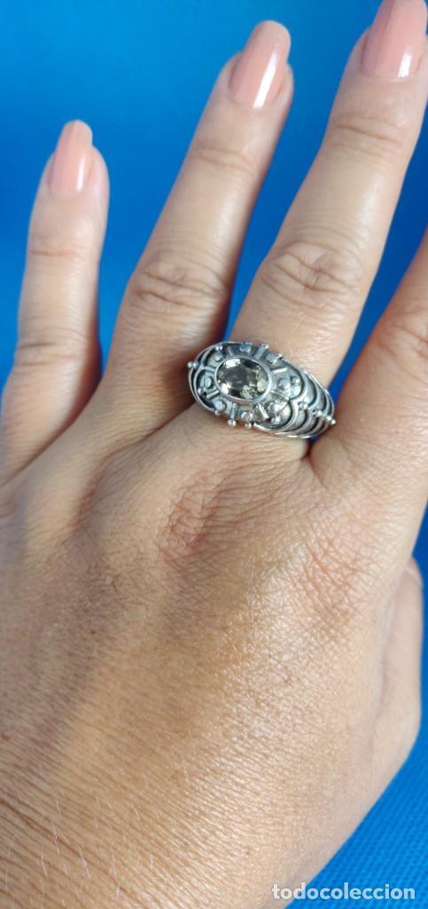 Joyeria: Anillo vintage de plata de ley maciza 925 y cuarzo facetado. - Foto 12 - 288060093