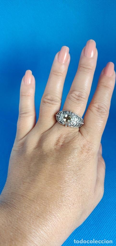 Joyeria: Anillo vintage de plata de ley maciza 925 y cuarzo facetado. - Foto 14 - 288060093
