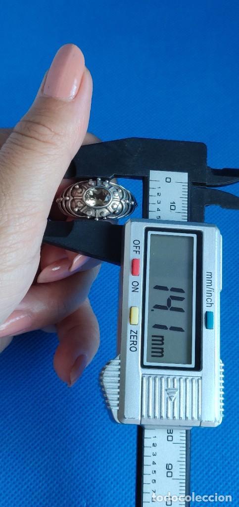 Joyeria: Anillo vintage de plata de ley maciza 925 y cuarzo facetado. - Foto 17 - 288060093