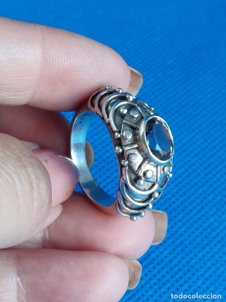 Joyeria: Anillo vintage de plata de ley maciza 925 y cuarzo facetado. - Foto 22 - 288060093