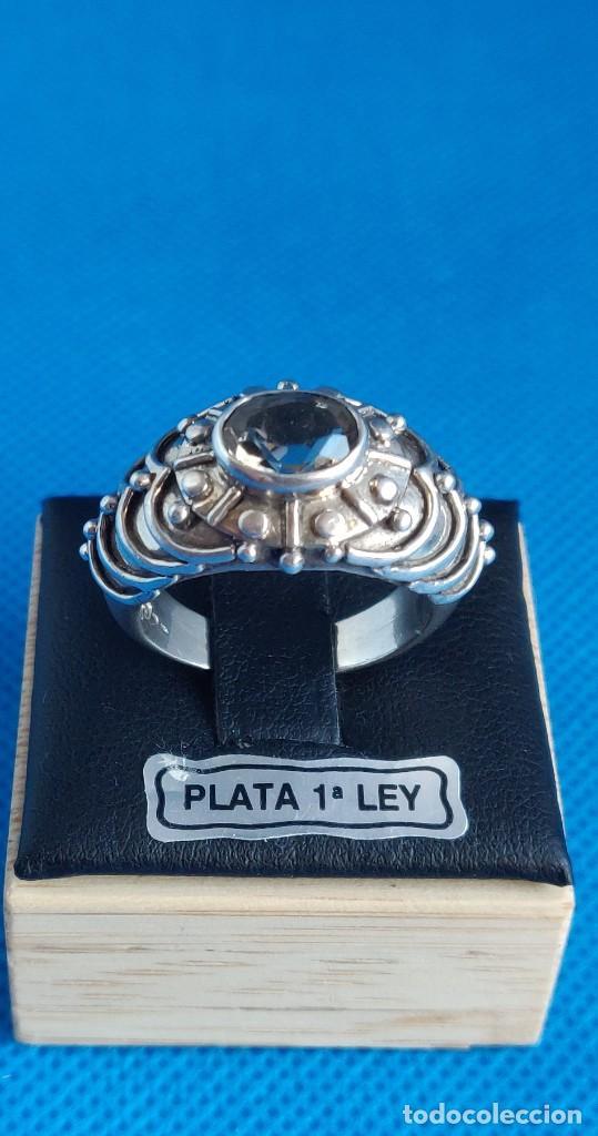 Joyeria: Anillo vintage de plata de ley maciza 925 y cuarzo facetado. - Foto 23 - 288060093