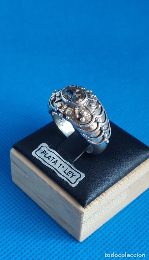Joyeria: Anillo vintage de plata de ley maciza 925 y cuarzo facetado. - Foto 24 - 288060093