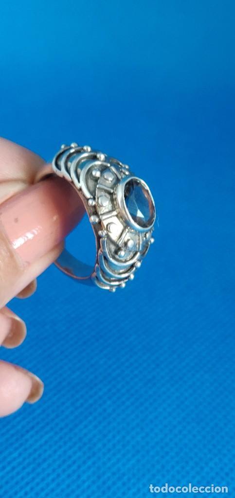 Joyeria: Anillo vintage de plata de ley maciza 925 y cuarzo facetado. - Foto 25 - 288060093