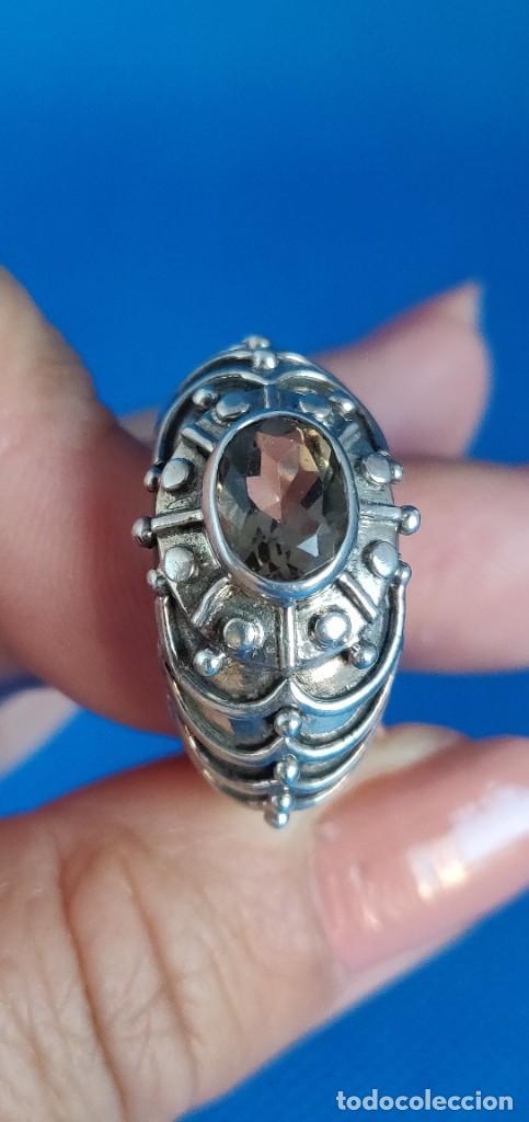Joyeria: Anillo vintage de plata de ley maciza 925 y cuarzo facetado. - Foto 26 - 288060093
