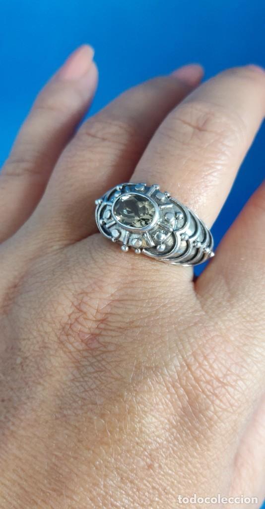Joyeria: Anillo vintage de plata de ley maciza 925 y cuarzo facetado. - Foto 28 - 288060093