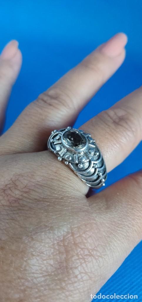 Joyeria: Anillo vintage de plata de ley maciza 925 y cuarzo facetado. - Foto 30 - 288060093