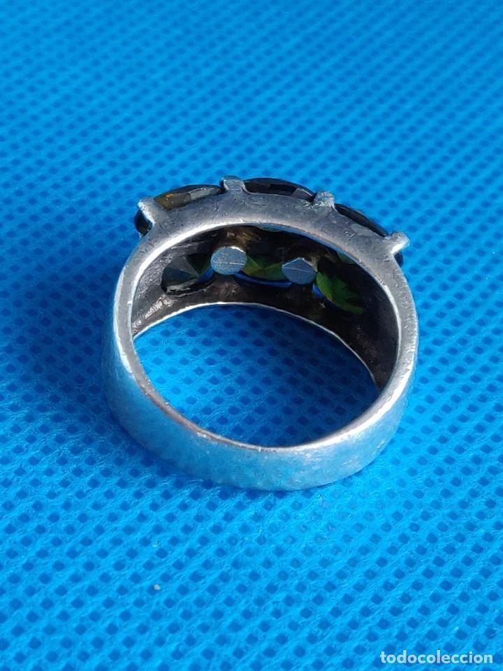 Joyeria: Anillo vintage de plata de ley 925 y 6 Turmalina talla n°15 equivale 17.5 mm - Foto 8 - 288065918