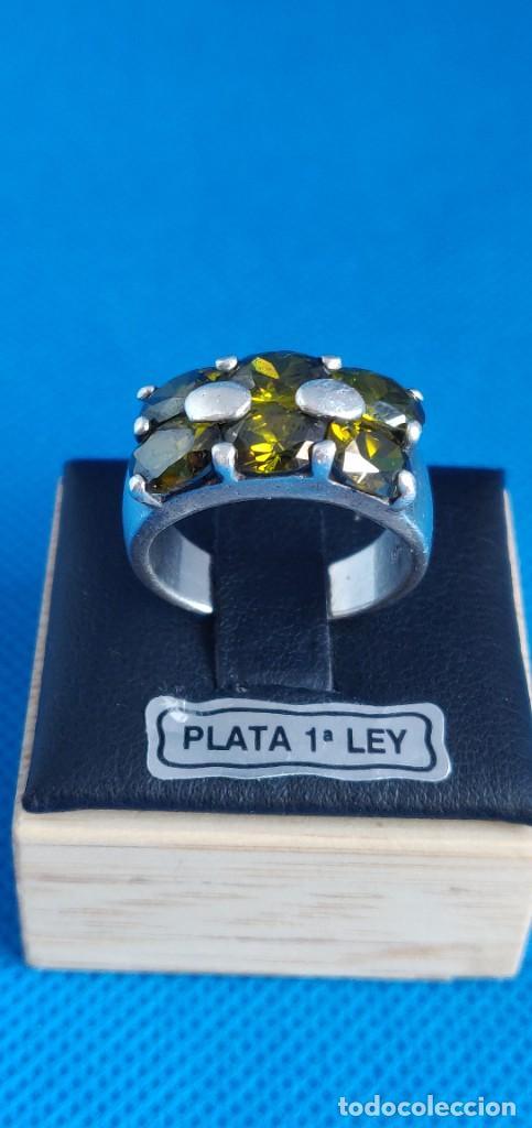 Joyeria: Anillo vintage de plata de ley 925 y 6 Turmalina talla n°15 equivale 17.5 mm - Foto 23 - 288065918