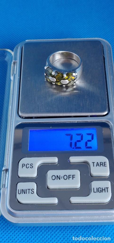 Joyeria: Anillo vintage de plata de ley 925 y 6 Turmalina talla n°15 equivale 17.5 mm - Foto 24 - 288065918