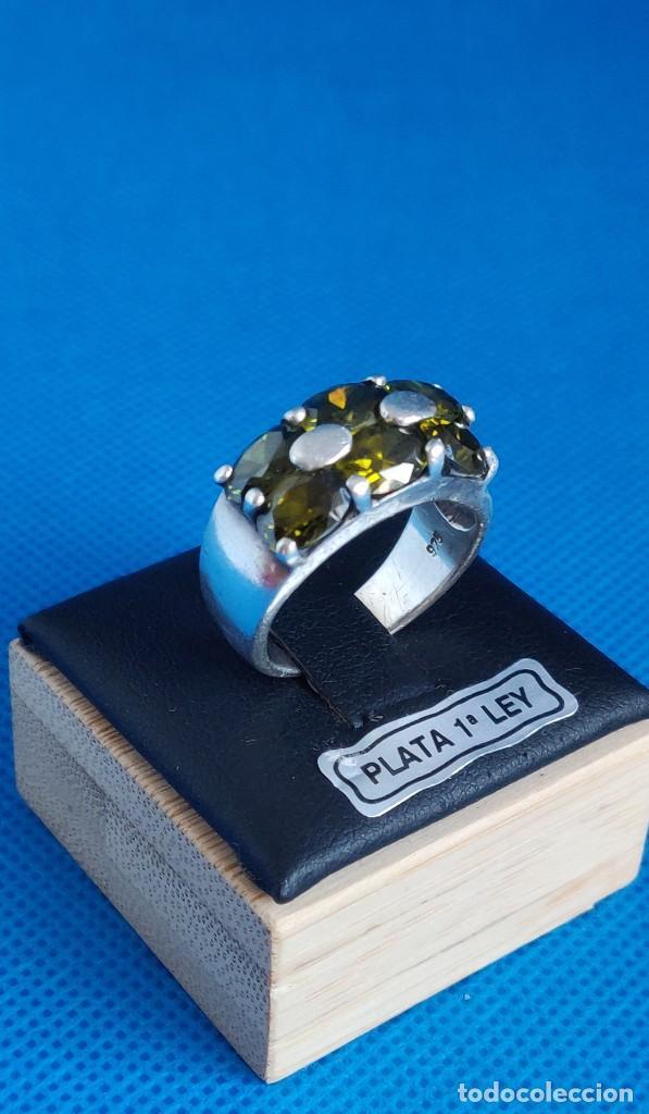 Joyeria: Anillo vintage de plata de ley 925 y 6 Turmalina talla n°15 equivale 17.5 mm - Foto 29 - 288065918