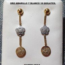Joyeria: PENDIENTES LARGOS ORO BICOLOR AMARILLO Y BLANCO DE 18 QUILATES. LARGO 27 MM.. Lote 288084133