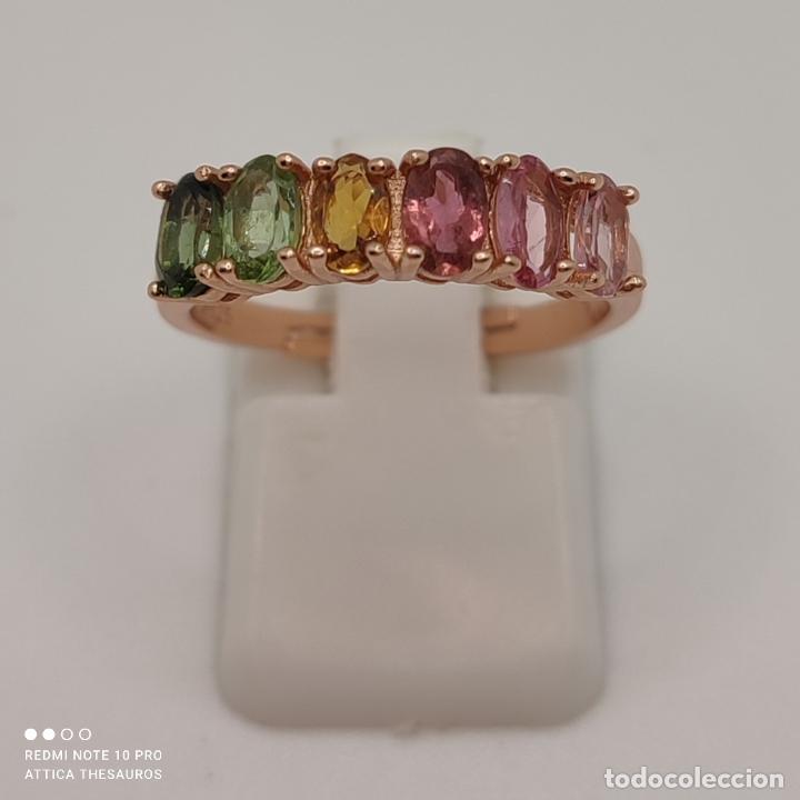 Joyeria: Preciosa sortija en plata de ley, chapada en oro de 18k y turmalinas naturales talla oval engarzadas - Foto 2 - 288132148