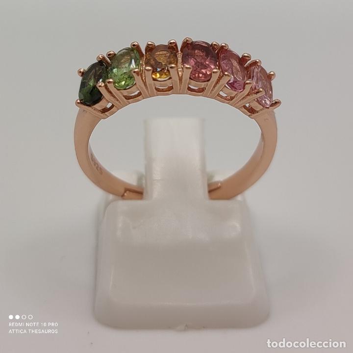 Joyeria: Preciosa sortija en plata de ley, chapada en oro de 18k y turmalinas naturales talla oval engarzadas - Foto 4 - 288132148