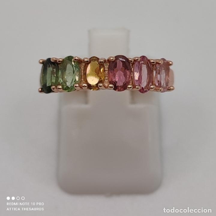 Joyeria: Preciosa sortija en plata de ley, chapada en oro de 18k y turmalinas naturales talla oval engarzadas - Foto 5 - 288132148
