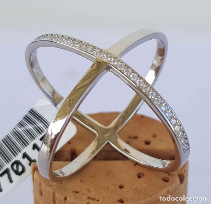 Joyeria: Anillo sortija de plata con circonitas, nuevo, 17,5 mm - Foto 2 - 288457548