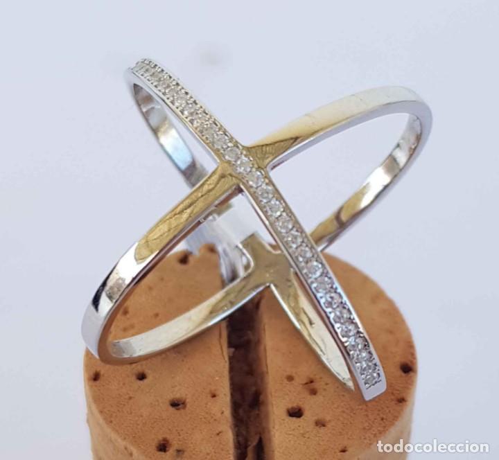 Joyeria: Anillo sortija de plata con circonitas, nuevo, 17,5 mm - Foto 3 - 288457548