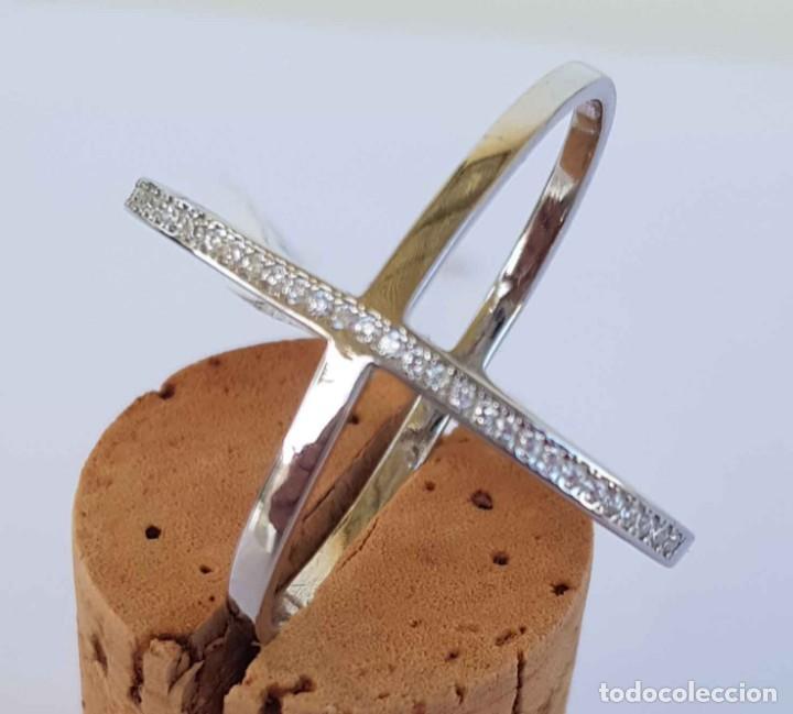 Joyeria: Anillo sortija de plata con circonitas, nuevo, 17,5 mm - Foto 4 - 288457548