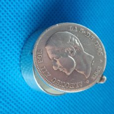 Joyeria: CAJITA ANTIGUA ( PASTILLERO O URNA) DE PLATA DE LEY ALFONSO XII 1882. Lote 288729013