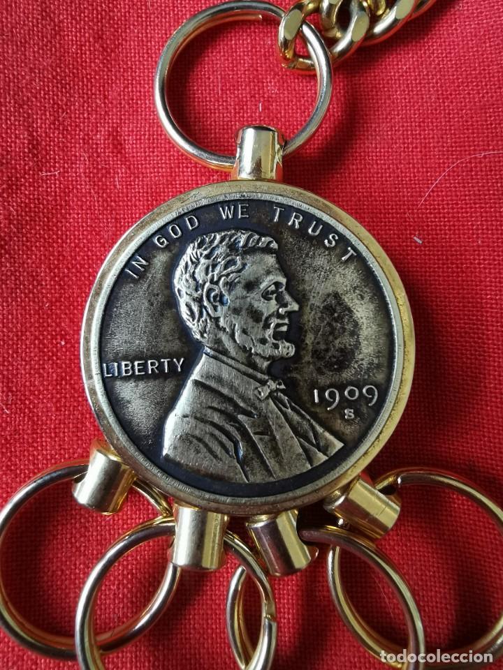 Joyeria: Cadena con dije para llaves o reloj de bolsillo. Moneda Lincoln. 1909.leer bien el anuncio - Foto 3 - 289685193