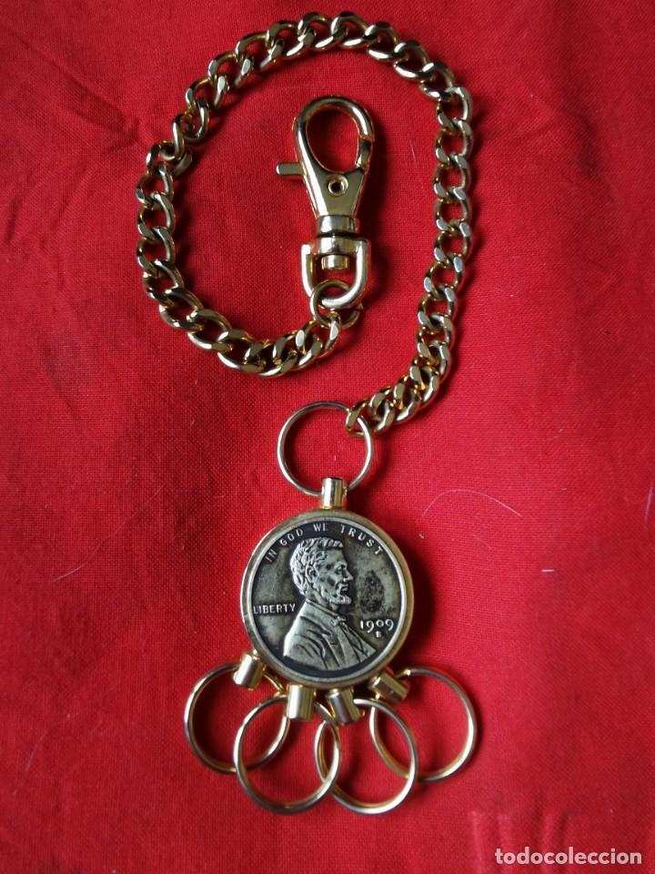 Joyeria: Cadena con dije para llaves o reloj de bolsillo. Moneda Lincoln. 1909.leer bien el anuncio - Foto 4 - 289685193