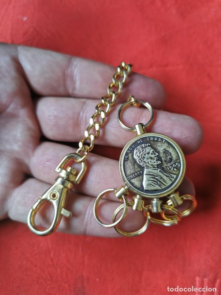 Joyeria: Cadena con dije para llaves o reloj de bolsillo. Moneda Lincoln. 1909.leer bien el anuncio - Foto 6 - 289685193