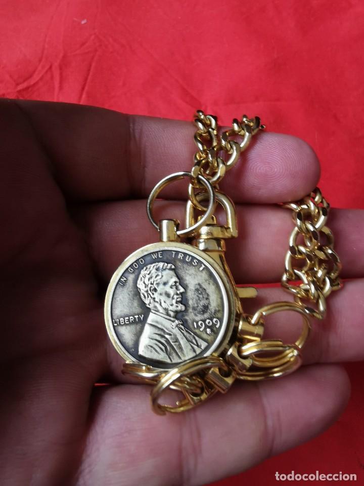 Joyeria: Cadena con dije para llaves o reloj de bolsillo. Moneda Lincoln. 1909.leer bien el anuncio - Foto 7 - 289685193