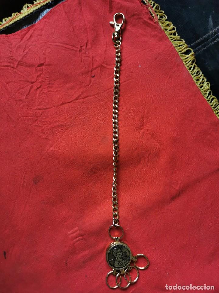 Joyeria: Cadena con dije para llaves o reloj de bolsillo. Moneda Lincoln. 1909.leer bien el anuncio - Foto 8 - 289685193
