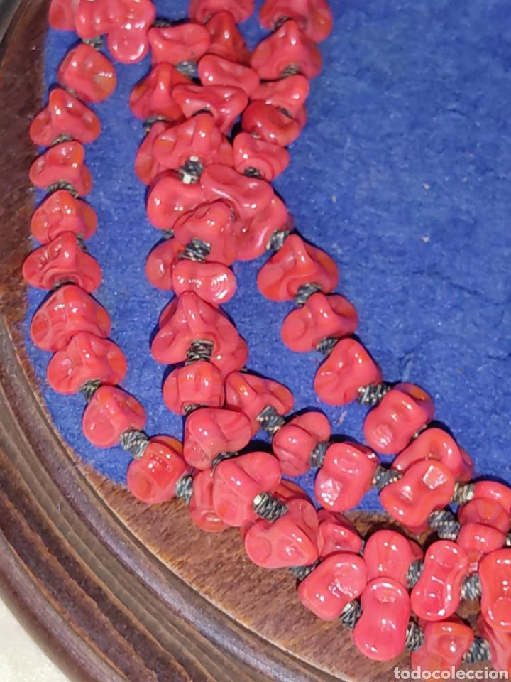 Joyeria: Collar largo de opalina roja imitando a coral,vintage. - Foto 3 - 289770288