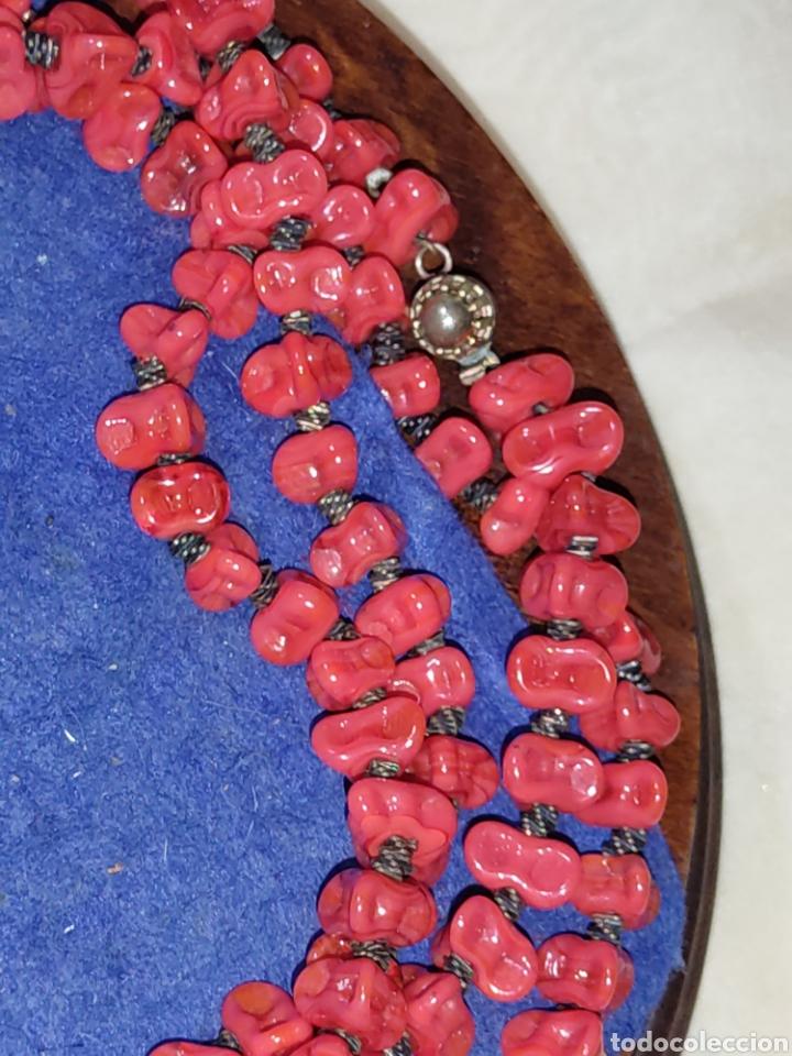 Joyeria: Collar largo de opalina roja imitando a coral,vintage. - Foto 5 - 289770288