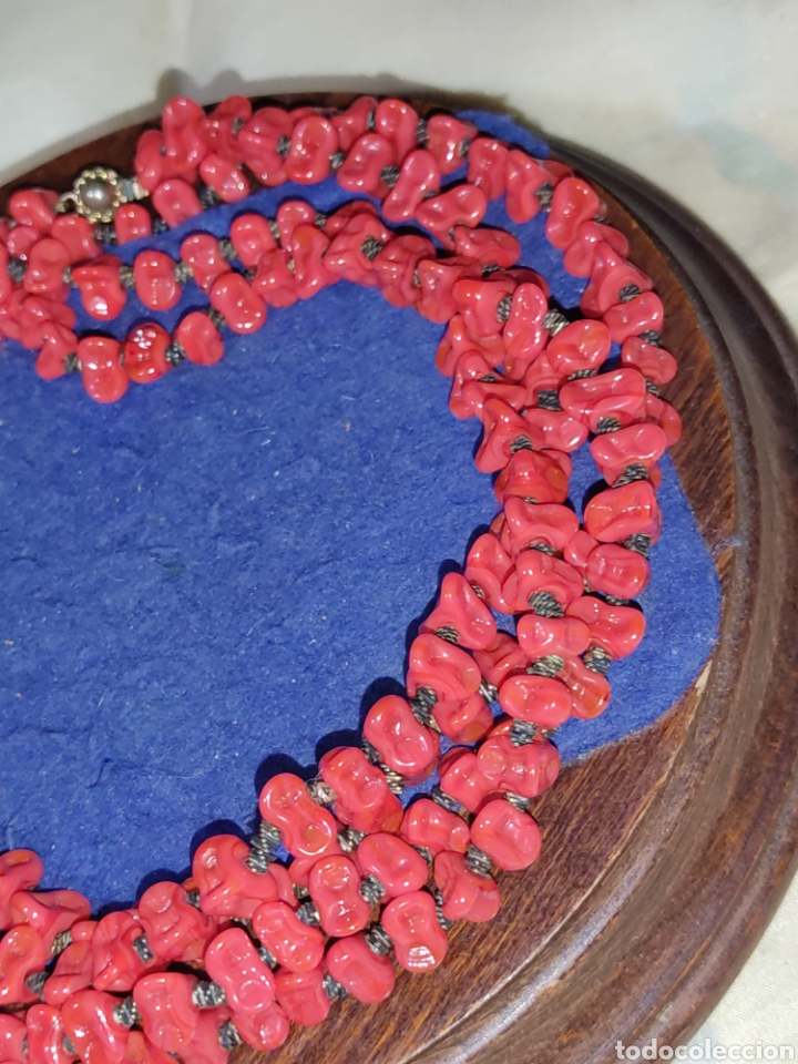 Joyeria: Collar largo de opalina roja imitando a coral,vintage. - Foto 6 - 289770288