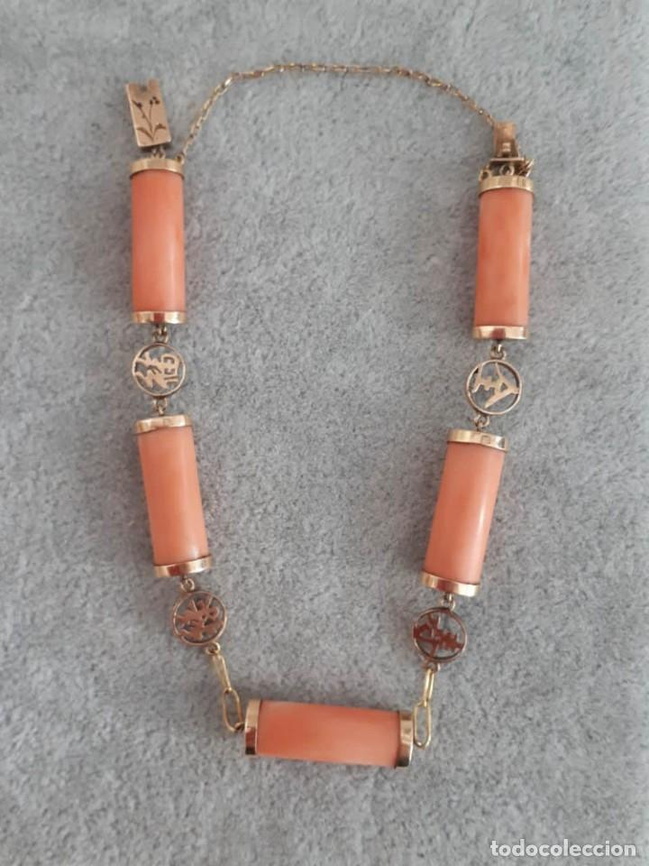 Joyeria: Pulsera Vintage Oriental Oro 18k Coral Natural - Foto 2 - 128949835