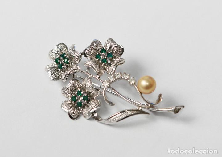 Joyeria: Precioso broche de plata de ley con circonitas y esmeraldas - Medida 5.60 cm - Foto 2 - 293670213