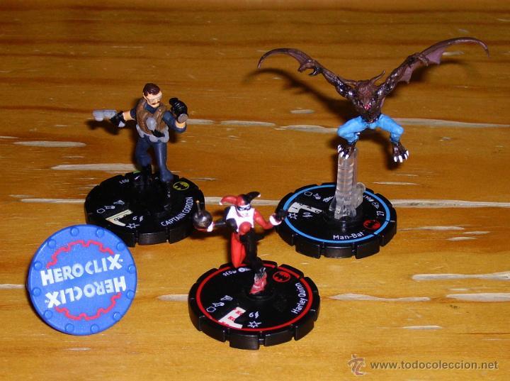 HEROCLIX: HARLEY QUINN, MANBAT, JAMES GORDON, ANILLO. (Juguetes - Rol y Estrategia - Otros)