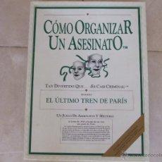 Juegos Antiguos: COMO ORGANIZAR UN ASESINATO: EL ULTIMO TREN DE PARIS + REGALO (OJO, LEER PRIMERO). Lote 50872702